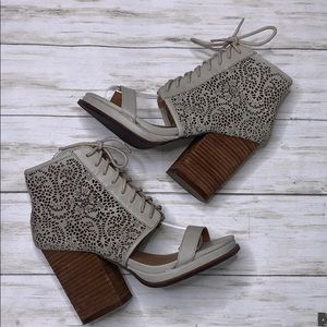 Jeffrey Campbell Open Toe Lace Up Booties